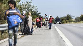 Des migrants syriens font leur chemin le long de l'autoroute en direction de la frontière turco-bulgare à Edirne le 15 Septembre 2015. (BULENT KILIC / AFP)