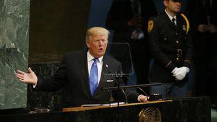 Donald Trump à la tribune de l'ONU, le 19 septembre 2017, à New York. (SHANNON STAPLETON / X90052)