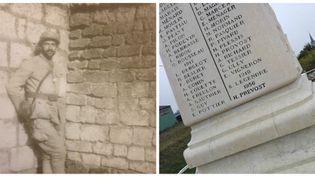 Le nom d'Henri Prévost, blessé à Verdun pendant la Première guerre mondiale et mort en 1956, vient d'être ajouté sur le monument aux morts de Bonnétable (Sarthe). (BERTRAND HOCHET / RADIOFRANCE)