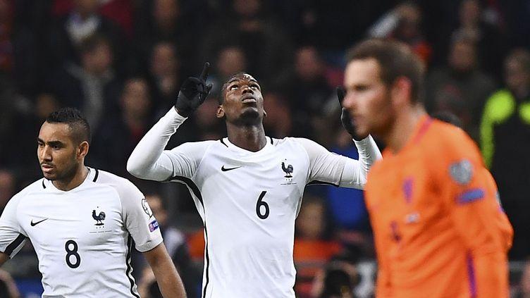 Délivrance pour Paul Pogba après son but face aux Pays-Bas (FRANCK FIFE / AFP)
