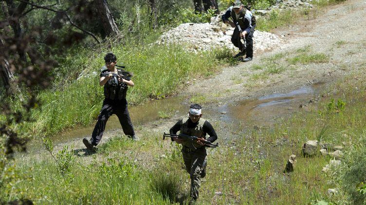 Des rebelles syriens près de Lattaquié, dans le nord de la Syrie, le 24 avril 2013. (MIGUEL MEDINA / AFP)