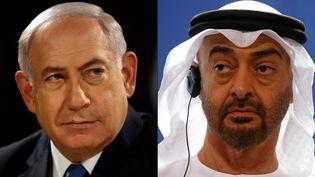 Juxtaposition d'une photo du Premier ministre israélien Benyamin Nétanyahou prise le 28 mai 2017 à Jérusalem et d'une photo du prince héritier d'Abou Dhabi Mohammed ben Zayed, prise le 12 juin 2019 à Berlin. (GALI TIBBON / AFP)