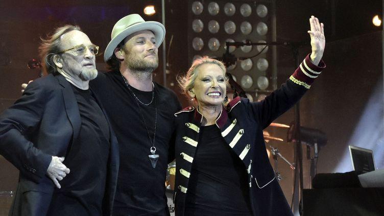 Véronique Sanson pour la premère soirée des Francofolies, le 11 juillet, avecStephen Stills, son ancien époux et leur fils Christopher Stills.  (SADAKA EDMOND/SIPA)