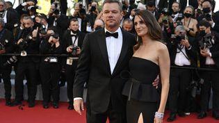 Matt Damon et Camille Cottin sur le tapis rouge du Festival de Cannes, 8 juillet 2021 (CHRISTOPHE SIMON / AFP)