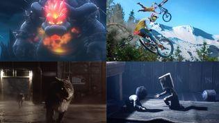 """De gauche à droite et de haut en bas, des images tirées des jeux vidéo """"Super Mario 3D World + Bowser's fury"""", Rider Republic"""", """"Werewolf"""" et """"Little nightmares II"""". (FRANCEINFO)"""