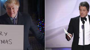 A gauche, image de Boris Johnson tirée de son clip de campagne. A droite, Hugh Grant sur scène pendant les Annual Screen Actor's Guild Awards à Los Angeles le 27 janvier 2019. (CONSERVATIVE PARTY UK/RICHARD SHOTWELL/INVISION/AP)
