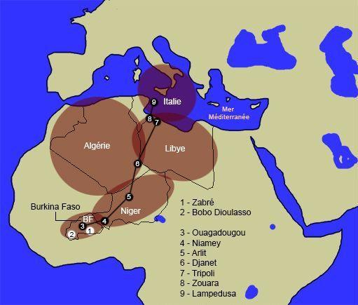 Le trajet parcouru par Koudous Seihon du Burkina Faso (Afrique) pour arriver, via la Méditerranée, en Europe (Italie). (Laurent Filippi pour Géopolis)