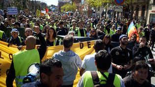 """Manifestation à Toulouse lors du 20e samedi consécutif de mobilisation des """"gilets jaunes"""", le 30 mars 2019. (ALAIN PITTON / NURPHOTO)"""