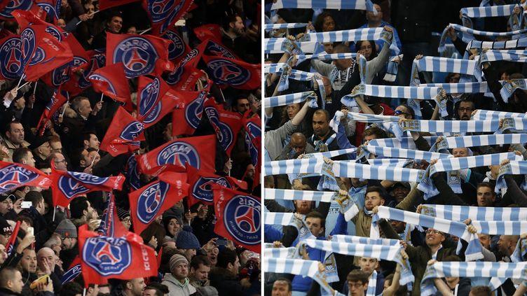 Les supporters du PSG et de Manchester City lors de la saison 2015-16. (REUTERS ET AFP)