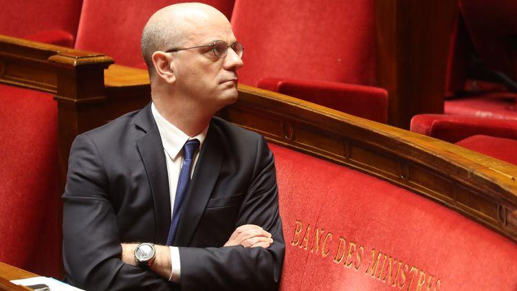 Jean-Michel Blanquer, le 19 mars 2020 à l'Assemblée nationale. (LUDOVIC MARIN / AFP)