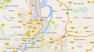 Une personne a été tuée et deux autres ont été grièvement blessées par balles par un tireur en état d'ivresse qui pour une raison inconnue a ouvert le feu en pleine rue, dans la soirée dusamedi 30 mai 2015, à Woippy, au nord de Metz (Moselle). (GOOGLE MAPS / FRANCETV INFO )