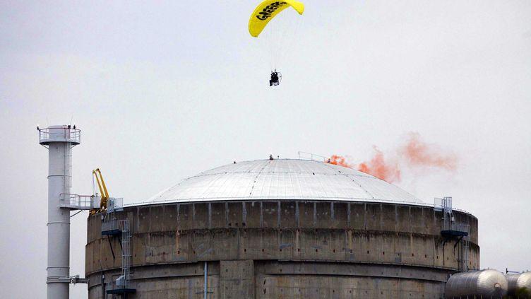 Un militant de Greenpeace survole la centrale de Le Bugey, le 2 mai 2012. (LAGAZETA/GREENPEACE INTERNATIONAL/SIPA)