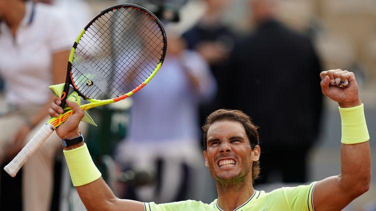 Rafael Nadal, à Roland-Garros, le 4 juin 2019. (KENZO TRIBOUILLARD / AFP)