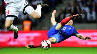 Kevin Gameiro, entré en deuxième mi-temps, lors du match entre la Biélorussie et la France, le 6 septembre 2016, à Borisov. (FRANCK FIFE / AFP)