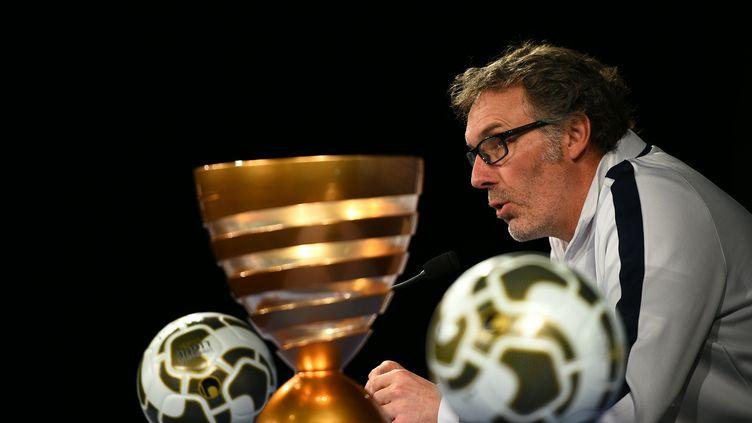 Laurent Blanc en conférence de presse, ce vendredi.  (FRANCK FIFE / AFP)