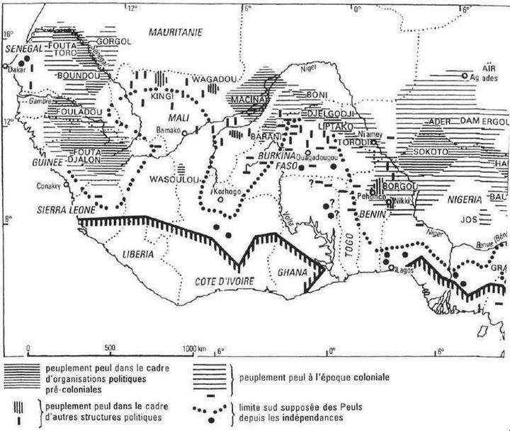 (« L'archipel Peul ». Source : 1994. « Pour une nouvelle cartographie des Peuls »)