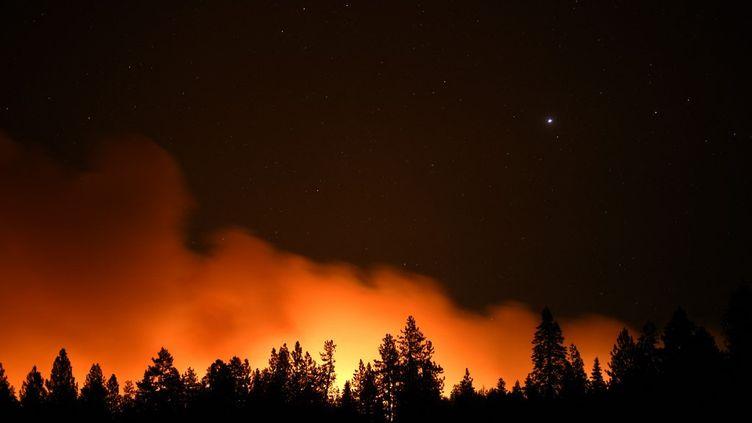 "Les flammes du ""Dixie Fire"" à Greenville, en Californie, le 5 août 2021. (NEAL WATERS / ANADOLU AGENCY / AFP)"