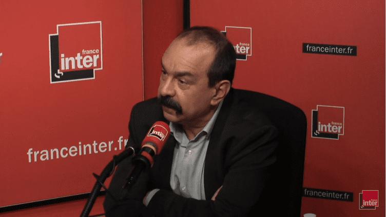 Le secrétaire général de la CGT, Philippe Martinez, le 3 avril 2018, sur France Inter. (RADIO FRANCE / FRANCE INTER)