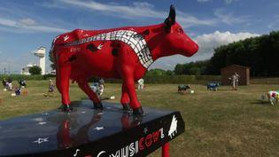 """""""La vache qui fait un boeuf"""" de Daniel Pillon, l'une des 39 vaches exposées dans le cadre de Musicow'l. (D.Commodi / France 3 Normandie)"""