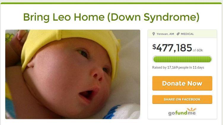 Une page de soutien à Leo, enfant trisomique, et à son père, qui accuse la mère du bambin de l'avoir abandonné après sa naissance, le 21 janvier 2015. (SAMUEL FORREST / GOFUNDME)