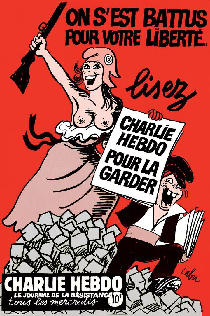 """Affiche pour Charlie Hebdo, 1994A retrouver dans la section """"Les combats de Cabu"""". (V.Cabut)"""