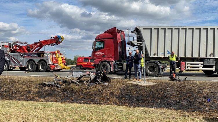 La RN12 à Laon (Aisne), le 18 juillet 2020, après l'accident entre cinq véhicules. (STÉPHANE MAGGIOLINI / FRANCE-BLEU CHAMPAGNE)