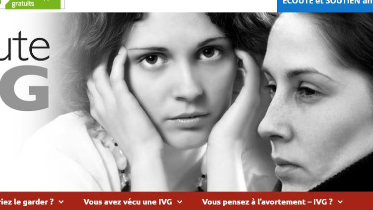 """Capture d'écran du site controversé Ecoute IVG, qui se présente comme un """"lieu d'écoute bienveillant"""" sur l'avortement. (ECOUTEIVG)"""