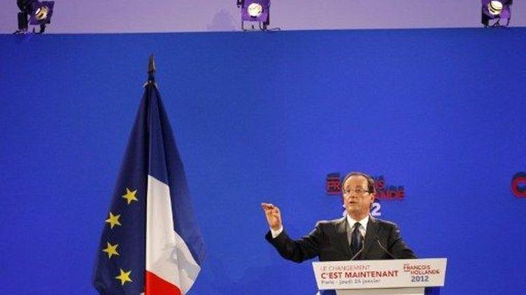 François Hollande présente son programme, à la maison des Métallos (Paris), le 26 janvier 2012. (AFP - Patrick Kovarik)