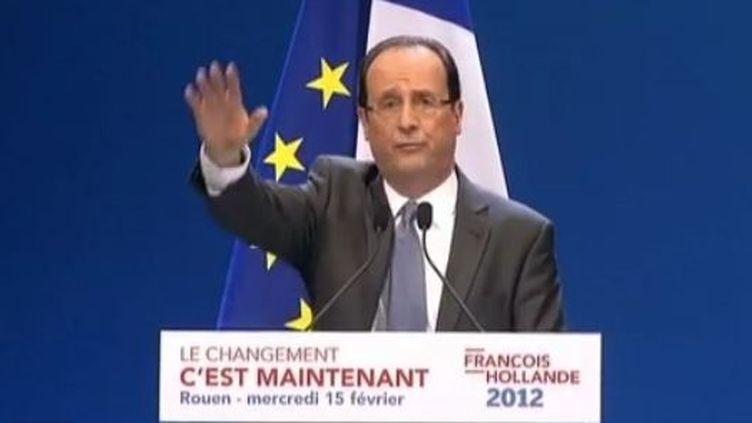 Le candidat PS à la présidentielle François Hollande lors d'un meeting à Rouen (Seine-Maritime), le 15 février 2012. (FTVI )