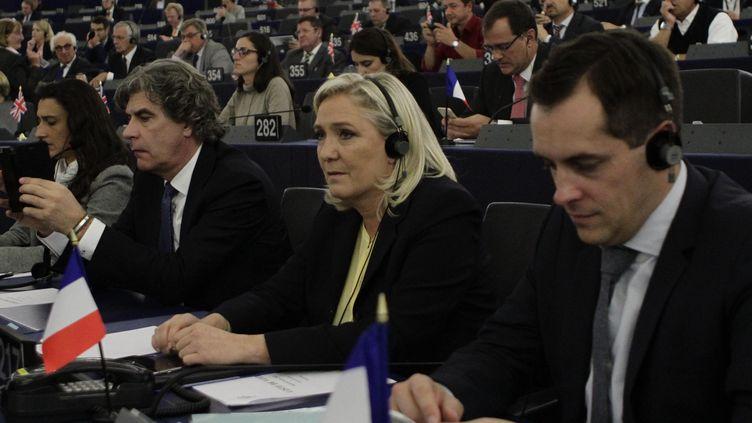 La présidente du Front national, Marine Le Pen, le 7 octobre 2015,à Strasbourg (Bas-Rhin). (ELYXANDRO CEGARRA / CITIZENSIDE.COM / AFP)