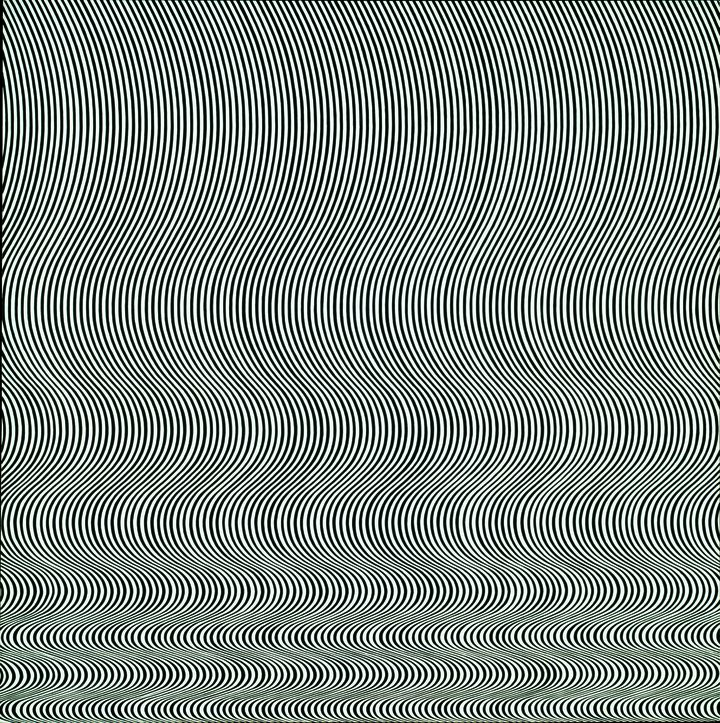 "Bridget Riley, ""Fall"", 1963. Emulsion sur Isorel. 141 x 140 cm. Londres, Tate Modern. (TATE PURCHASED 1963, LONDON 2012)"