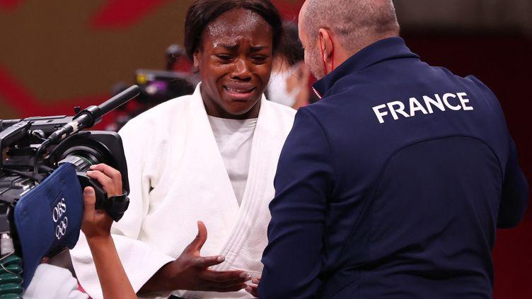 La judokate française Clarisse Agbegnenou après sa victoire en finale des moins de 63kg lors des Jeux olympiques de Tokyo, le 27 juillet 2021. (HIROTO SEKIGUCHI / YOMIURI)