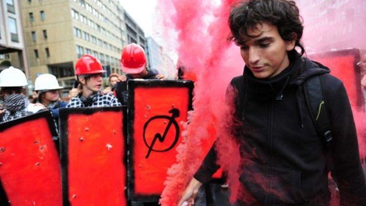 Vendredi, les étudiants dans les rues de Milan. (GIUSEPPE CACACE / AFP)