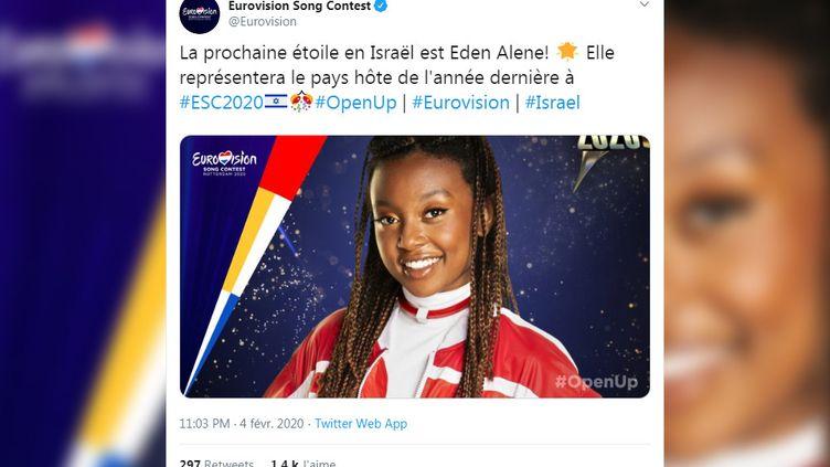 Eden Alene représentera Israël à l'Eurovision. (CAPTURE D'ECRAN TWITTER)