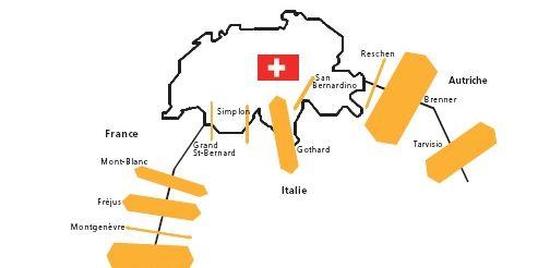 Trafic routier marchandises à travers les Alpes, par passage alpin, en 2010 (Litra)