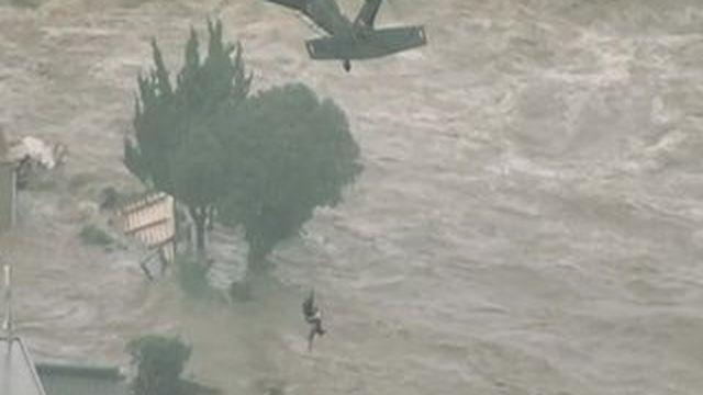 Japon : la ville de Joso submergée après le passage du typhon Etau