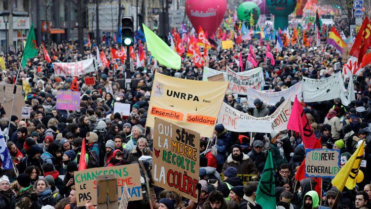 La manifestation parisienne du 5 décembre 2019 contre la réforme des retraites. (THOMAS SAMSON / AFP)