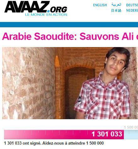 Capture d'écran du site d'Avaaz