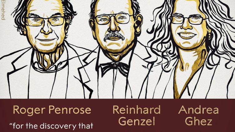 Dessin de Roger Penrose, Reinhard Genzel et Andrea Ghez, prix Nobel de physique 2020. (COMITE NOBEL / FRANCEINFO)