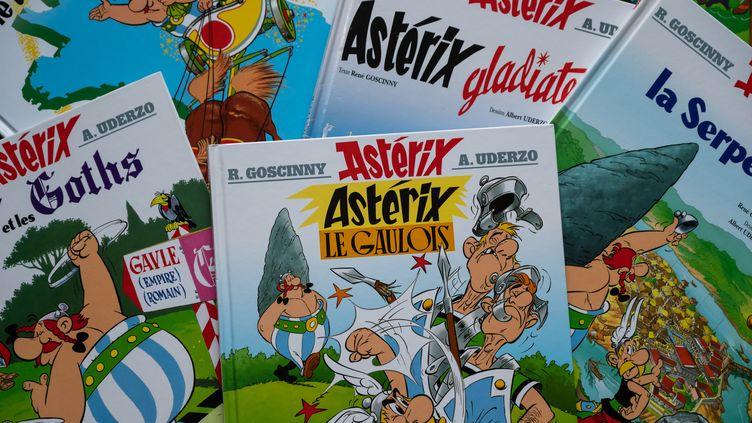 Des couvertures d'albums d'Astérix, le 24 mars 2020 à Paris. (RICCARDO MILANI / HANS LUCAS / AFP)