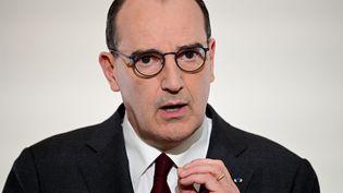 Le Premier ministre, Jean Castex, lors de sa conference de presse sur les annonces du gouvernement sur le Covid-19; le 18 mars 2021.  (MARTIN BUREAU / POOL / AFP)