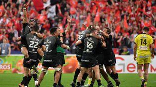 Toulouse fête sa victoire en finale du Top 14, le 15 juin 2019, au Stade de France. (DOMINIQUE FAGET / AFP)