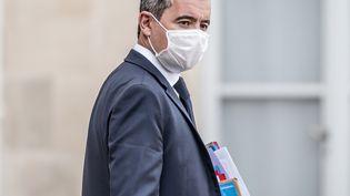Gérald Darmanin quitte l'Elysée à la fin du Conseil des ministres, le 7 octobre 2020, à Paris. (ARTHUR NICHOLAS ORCHARD / HANS LUCAS / AFP)