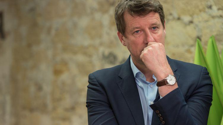 Yannick Jadot, tête de liste EELV pour les européennes,annonce que le parti va porter plainte contre Monsanto pour dessoupçons de fichage de certains membres du parti. Le 17 mai 2019n au siège d'EELV à Paris. (- / AFP)