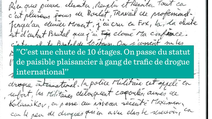 Extrait du cahier d'écolier du skipper Olivier Thomas. (RADIO FRANCE)