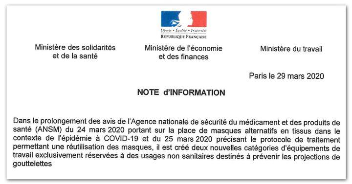 Note ministérielle informant de la création de deux nouvelles catégories de masques. (DR)