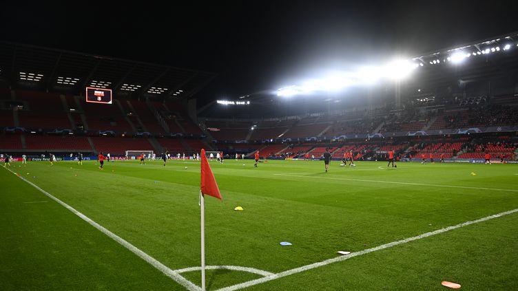 Le Roazhon Park lors de l'échauffement entre Rennes et Krasnodar le 20 octobre. (DAMIEN MEYER / AFP)