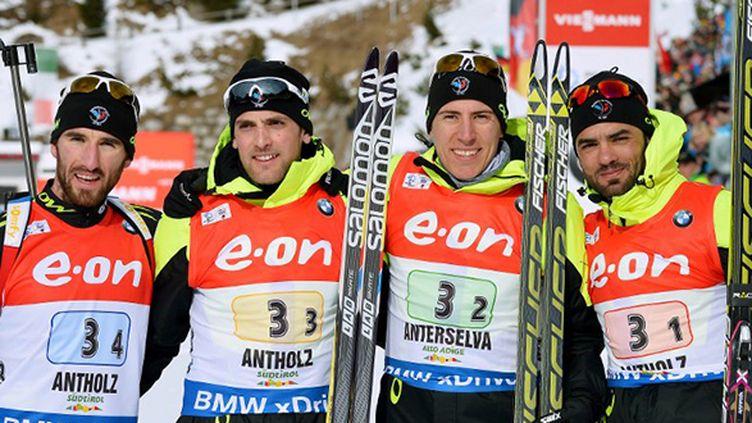 Le relais français, 3e à Antholz, avec Simon Fourcade, Quentin Fillon-Maillet, Simon Desthieux et  Jean-Guillaume Béatrix