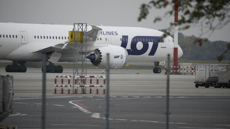 Un avion de la compagnie polonaise LOT, le 27 octobre 2018 sur le tarmac de l'aéroport de Varsovie. (JAAP ARRIENS / NURPHOTO / AFP)