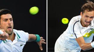 Novak Djokovic affronte Daniil Medvedev en finale de l'Open d'Australie, le 21 février 2021. (WILLIAM WEST / AFP)